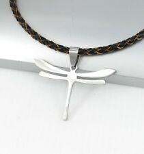 Silver Insect Dragonfly Wings Pendant 3mm Braided Brown Leather Choker Necklace
