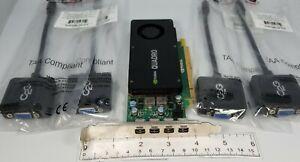 PNY Nvidia K1200 4GB GDDR5 4X Mini DP to VGA Adapters Windows 10 Video Card