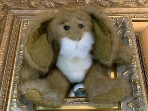 "FIRST & MAIN 8"" RARE HARE STUFFED ANIMAL EASTER BUNNY BROWN WHITE E1402 EUC"