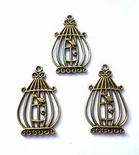 3 x antique bronze ovale birdcage charm 34x21mm