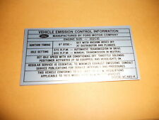 1970 1/2 FORD FALCON 302 ENGINE EMISSIONS DECAL