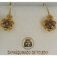 Damascene Gold Geometric Design Drop Earrings by Midas of Toledo Spain