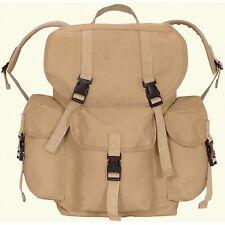 Military Dakota Canvas Day Pack Khaki Drawstring Closure Backpack New 19x17x7