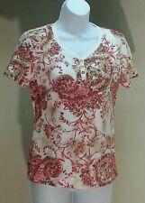 NWT Karen Scott Women's Multi-Color Floral Short Sleeve Top Blouse Size: PS