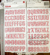 ELLA Wht Red/Pink HEARTS Chipboard 108 Alphabet & Numbers 30mmHigh&5-27mmWide L7
