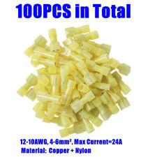 100Pcs Yellow Female Insulated Quick Disconnect Connector Wire Terminal 12-10AWG