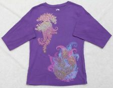 Purple Thermal Shirt Long Sleeve Women's FRZ Cotton Solid Top Large 11-13 Woman
