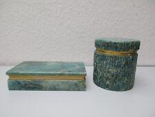 Zwei Vintage Marmor Dosen-Deckeldosen mit Messing Montur