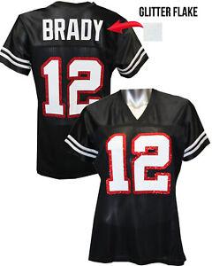 Custom Womens Blinged Football Black Glitter Flake Jersey, Tom Brady, Tampa Bay