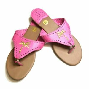Simply Southern Pink Gold Palm Tree Flip Flops Size 9 Tees Shoes Sandals NWT's