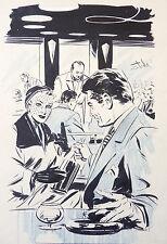 Dessin original de Angelo DI MARCO illustration vers 1955 café