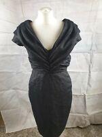Zara Woman Charcoal grey Wool Blend V Neck Short Sleeve Shift Dress Size M