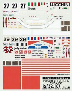 Carpena decals for cars 1/32 - Porsche 911 GT1 LM 97 27 29 (Ref 32107)