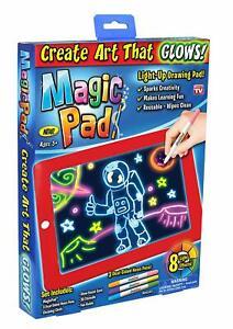 Magic Pad Drawing Board Glow Art Crafts Light Up LED Markers Erase - Damaged Box
