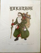 Yuletide Santa by Barbie Tidwell - Hand Colored Etching