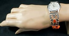 Navajo Made Sterling Silver & Coral Watch Band with Working Anasazi Watch