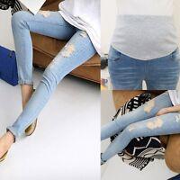 Pregnant Women Denim Pants Adjustable Elastic Maternity Jeans Trousers