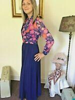 70's Vintage Blue Retro Orange Pink Floral Sleeveless Maxi Dress Bolero Set