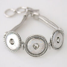 Fits Ginger Snaps THREE SNAP BRACELET Charm Button Interchangeable Jewelry 18mm