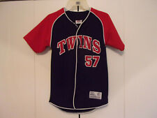MINNESOTA TWINS JOHAN SANTANA BUTTON DOWN JERSEY YOUTH MED EMBROIDERED MINT