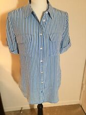 Equipment Signature Stripe Silk Button Down Blouse Short Sleeve, Size S, New