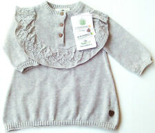 Strick Kleid Gr.74 Topomini NEU 100%Baumwolle bio grau Ajour Long Pullover baby