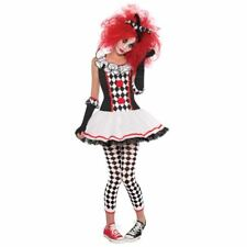 Womens Harlequin Honey Clown Halloween Costume Fancy Dress Outfit Size  8-10