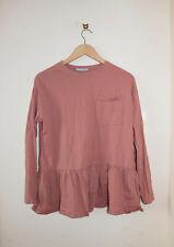 Zara women t-shirt long sleeve plain top tee tshirt blouse ruffles size M medium