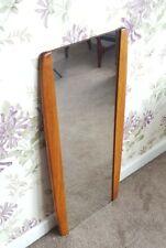 """Vintage Mid Century Teak Wood Edged Long Wall Mirror 31"""" 1960s 1970s"""