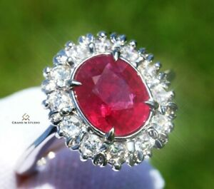 Ruby Ring Gold Diamond Natural NO HEAT GIA Certified 3.58 CTW RETAIL $14900