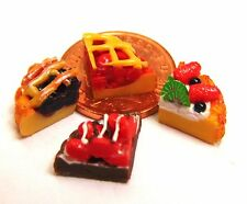 1:12 Set of 4 Tart / Flan Slices Dolls House Miniature Kitchen Dessert Accessory