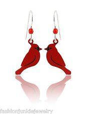 Red Cardinal Bird Earrings - 925 Sterling Silver Ear Wires - Birds Dangle NEW