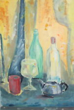 Vintage gouache painting still life with bottles and coffee pot