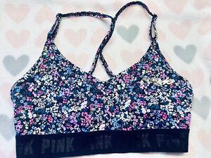 Victoria's Secret PINK Ultimate Lightly Lined Sport Bra Floral Size Medium