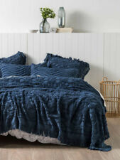 NEW Linen House Somers Denim Cotton Queen King Coverlet Bed Cover Throw
