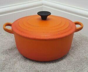 LE CREUSET Casserole Dish Cast Iron Dutch Oven Volcanic Orange WELL USED