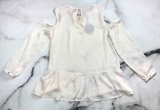 Harlowe & Graham Blouse Women's Peplum Cold Shoulder Shimmer Ivory Top M NWT