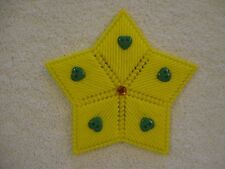 Yellow Star with Green Hearts Magnet Plastic Canvas Magnet