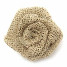 10 Jute Flower Natural Hessian Burlap Wedding Rustic Sewing Craft 5.5cm