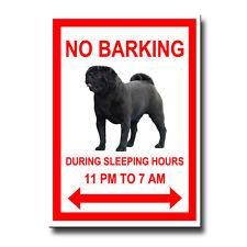 BLACK PUG No Barking FRIDGE MAGNET Black DOG
