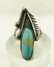 """Vintage Navajo Royston Turquoise Sterling Silver Feather 1 1/4"""" Ring Sz 5.25"""
