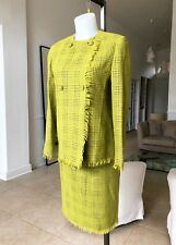 Gianni Versace Couture lime green plaid frayed wool angora skirt suit size 40/42
