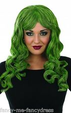 Ladies Long Green Curly Temptress Halloween Wig Fancy Dress Costume Accessory