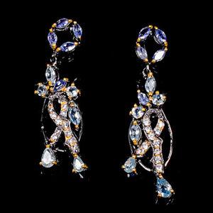 Earrings gemstone jewelry Blue Topaz Earrings Silver 925 Sterling   /E58048