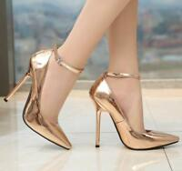 Womens Sexy 13CM Metal Pump Ankle Strap Nightclub PointyToe High Heel Shoes