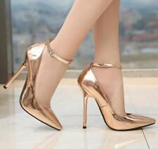 Womens Sexy 13CM Metal Pump Ankle Strap Nightclub PointyToe High Heel Shoes
