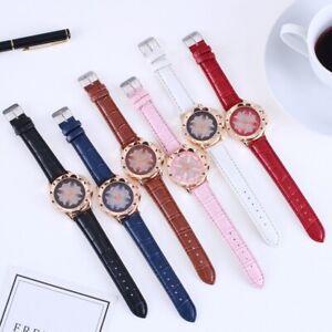 Women Casual Watch Bracelet Leather Dress Analog Quartz Wrist Watches Flower
