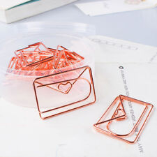 12pcs rose gold color plating heart shape paper clip cute bookmark tag clip G3