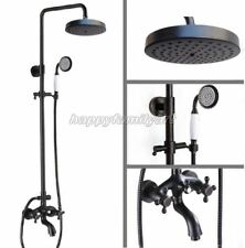 Black Oil Rubbed Brass Bathroom Rain Shower Faucet Set Tub Mixer Tap yrs457