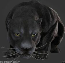 Black Panther Statue - Panther Statue - Life Size Black Panther Crouching Statue